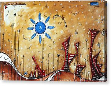 Abstract City Cityscape Contemporary Art Original Painting The Lost City By Madart Canvas Print by Megan Duncanson