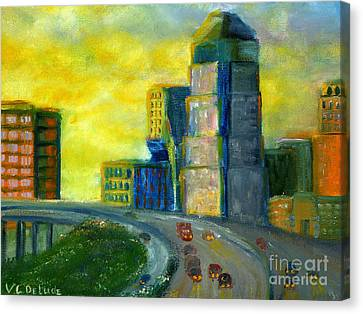 Abstract City Downtown Shreveport Louisiana Canvas Print by Lenora  De Lude