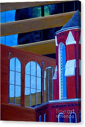 Abstract City Downtown Shreveport Louisiana Urban Buildings And Church Canvas Print by Lenora  De Lude