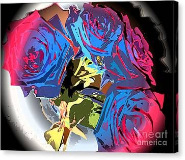 Abstract Cluster Of Roses Canvas Print by Minding My  Visions by Adri and Ray