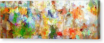 Canvas Print featuring the digital art Abstract Collage Panorama by Ginette Callaway