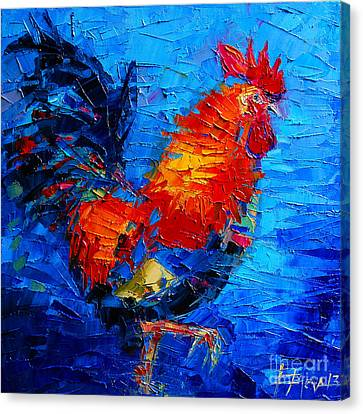Abstract Colorful Gallic Rooster Canvas Print by Mona Edulesco