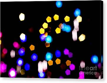 Abstract Colorful Pentagon Shaped Bokeh Lights Canvas Print by Beverly Claire Kaiya