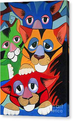 Abstract Colorful Sleepy Cats Canvas Print