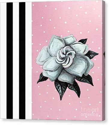 Abstract Contemporary Whimsical Pink Painting Gardenia Flower By Madart Canvas Print by Megan Duncanson