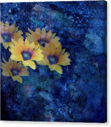 Abstract Daisies On Blue Canvas Print by Ann Powell