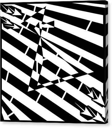 Abstract Distortion Hour-glass Maze  Canvas Print by Yonatan Frimer Maze Artist