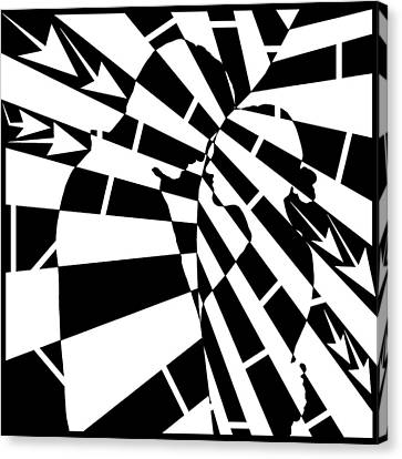 Abstract Distortion Human Touch Maze  Canvas Print by Yonatan Frimer Maze Artist