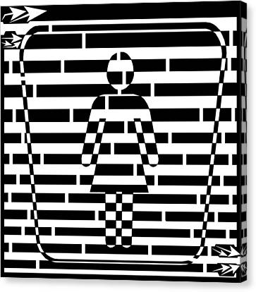 Abstract Distortion Ladies Room Sign Maze Canvas Print by Yonatan Frimer Maze Artist