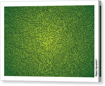 Abstract Doodle Faces Green Canvas Print by Frank Ramspott