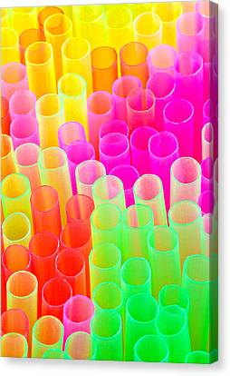 Canvas Print featuring the photograph Abstract Drinking Straws #2 by Meirion Matthias
