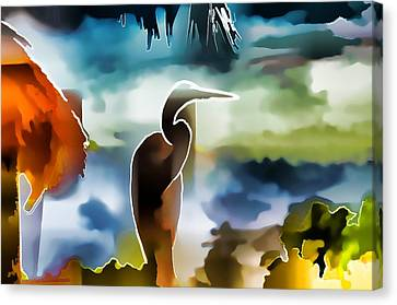 Abstract Egret Profile Canvas Print