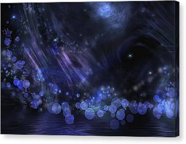 Abstract Fantasy In Black And Blue Canvas Print by Nika Lerman