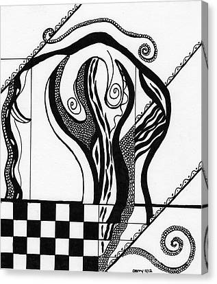 Abstract Figure In Black And White 2 Canvas Print by Christine Perry