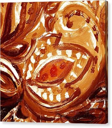 Abstract Floral Butterscotch And Chocolate Canvas Print by Irina Sztukowski