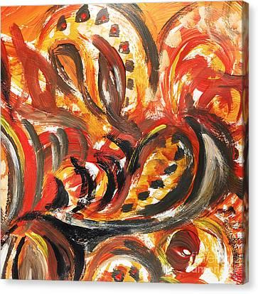 Abstract Khokhloma Floral Design Autumn Leaves Canvas Print