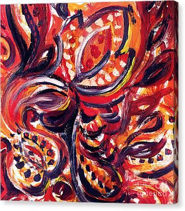 Abstract Floral Khokhloma Summer Breeze  Canvas Print by Irina Sztukowski