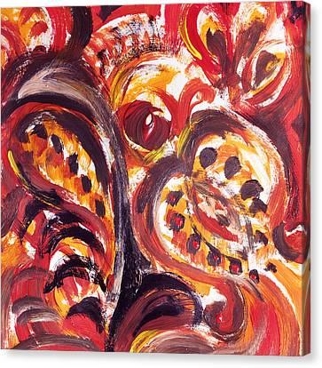 Abstract Floral Khokhloma Seed Pod Canvas Print by Irina Sztukowski