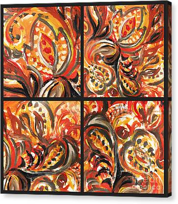 Abstract Floral Khokhloma Quartet Canvas Print
