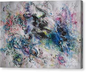 Abstract Flower Field Painting Blue Pink Green Purple Black Landscape Painting Modern Acrylic Pastel Canvas Print by Seon-Jeong Kim