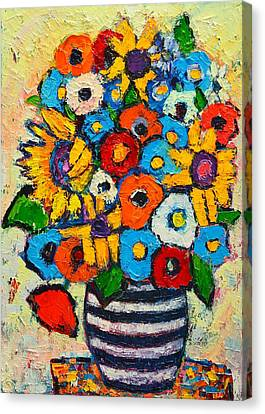 Tibetan Canvas Print - Abstract Flowers - Sunflowers And Colorful Poppies In Striped Vase by Ana Maria Edulescu