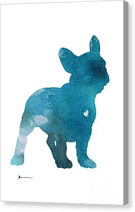 Abstract French Bulldog Silhouette Watercolor Art Print Painting Canvas Print by Joanna Szmerdt