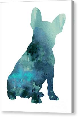 Abstract Frenchie Silhouette Watercolor Poster Canvas Print