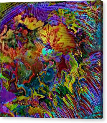 Abstract Fronds In Jewel Tones - Square Canvas Print by Lyn Voytershark