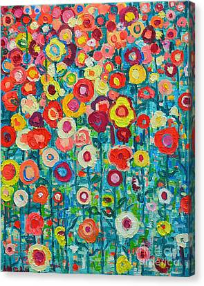 Abstract Expressionism Canvas Print - Abstract Garden Of Happiness by Ana Maria Edulescu