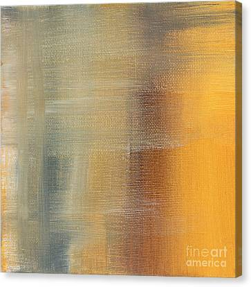Abstract Art On Canvas Print - Abstract Golden Yellow Gray Contemporary Trendy Painting Fluid Gold Abstract I By Madart Studios by Megan Duncanson