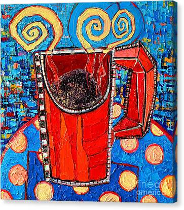 Abstract Hot Coffee In Red Mug Canvas Print by Ana Maria Edulescu