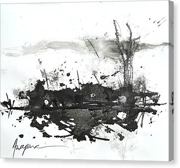 Modern Abstract Black Ink Art Canvas Print by Patricia Awapara