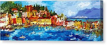 Abstract Italy Sestri Levante Liguria Panoramic Modern Art Canvas Print