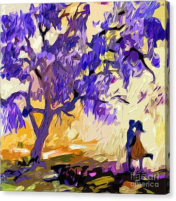 Abstract Jacaranda Tree Lovers Canvas Print by Ginette Callaway