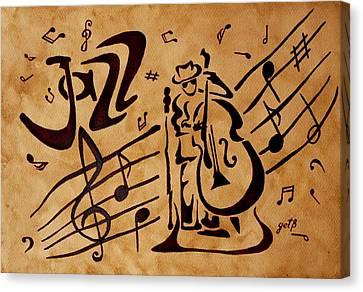 Abstract Jazz Music Coffee Painting Canvas Print by Georgeta  Blanaru