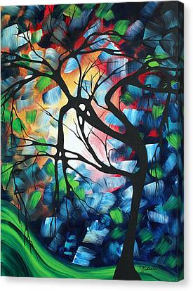 Abstract Landscape Art Original Colorful Painting Tree Maze By Madart Canvas Print by Megan Duncanson