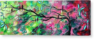 Lime Tree Canvas Print - Abstract Landscape Bird And Blossoms Original Painting Birds Delight By Madart by Megan Duncanson