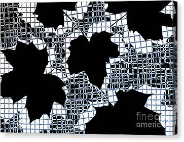 Abstract Leaf Pattern - Black White Light Blue Canvas Print by Natalie Kinnear
