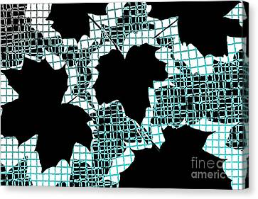 Abstract Leaf Pattern - Black White Turquoise Canvas Print by Natalie Kinnear