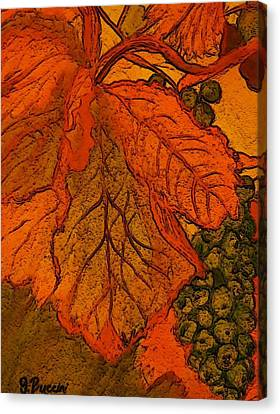 Abstract Leaves And Grapes Canvas Print