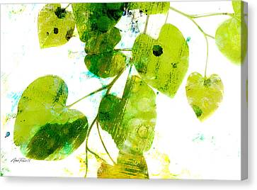 Abstract Leaves Green And White  Canvas Print by Ann Powell