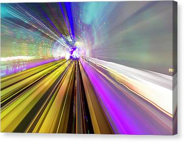 Bund Shanghai Canvas Print - Abstract Light Trails Of Underground by William Perry