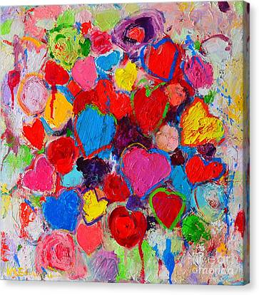 Abstract Love Bouquet Of Colorful Hearts And Flowers Canvas Print by Ana Maria Edulescu