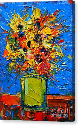 Abstract Miniature Bouquet Canvas Print by Mona Edulesco