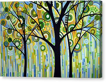Abstract Modern Tree Landscape Spring Rain By Amy Giacomelli Canvas Print by Amy Giacomelli