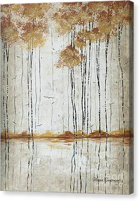Abstract Neutral Landscape Pond Reflection Painting Mystified Dreams I By Megan Ducanson Canvas Print by Megan Duncanson