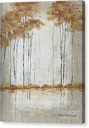 Abstract Neutral Landscape Pond Reflection Painting Mystified Dreams II By Megan Ducanson Canvas Print by Megan Duncanson