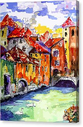 Abstract Old Houses In Annecy France Canvas Print by Ginette Callaway