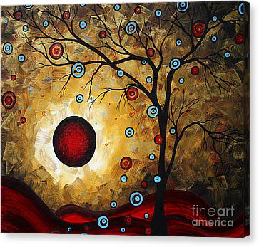 Abstract Original Gold Textured Painting Frosted Gold By Madart Canvas Print by Megan Duncanson