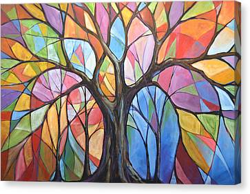 Canvas Print featuring the painting Abstract Original Tree Art Painting ... Colors Of The Wind by Amy Giacomelli